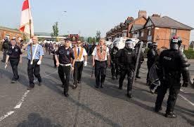 orangemen and riot police