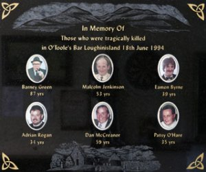 A memorial plaque in the room where six men were murdered at the Heights Bar in Loughinisland