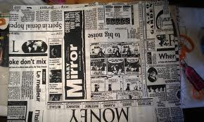 newspaper as tablecloth