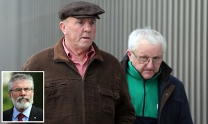 "Thomas ""Slab"" Murphy (left) who owns a farm in Co Louth straddling the border with Northern Ireland, arrives at the non-jury Special Criminal Court in Dublin, where he pleaded not guilty to nine tax offences in the Irish Republic. PRESS ASSOCIATION Photo. Picture date: Thursday December 17, 2015. See PA story IRISH Slab. Photo credit should read: Niall Carson/PA Wire"